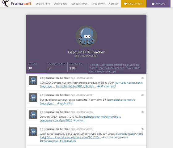 Le Journal du hacker sur Mastodon
